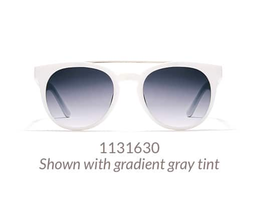Stylish round sunglasses with modern brow bar detail shown in white option with gradient gray tint.