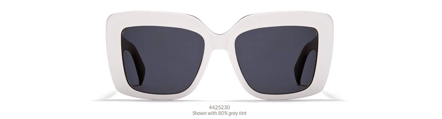 Bold and fashion-forward square sunglasses in white acetate shown with 80% gray tint.