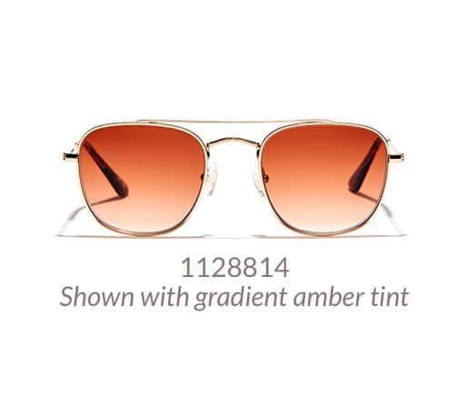 Metal 70s-inspired aviator sunglasses shown in gold with gradient amber tint.