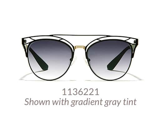 Fashion-forward, stainless steel cat-eye sunglasses with an intricate design and brow bar shown in black option with gradient gray tint.