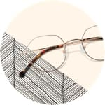 Zenni geometric glasses #157714 on a cream-colored background with chevron pattern accents.