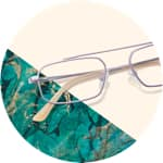 Zenni aviator glasses #3220717 on a cream-colored background with aqua accents.