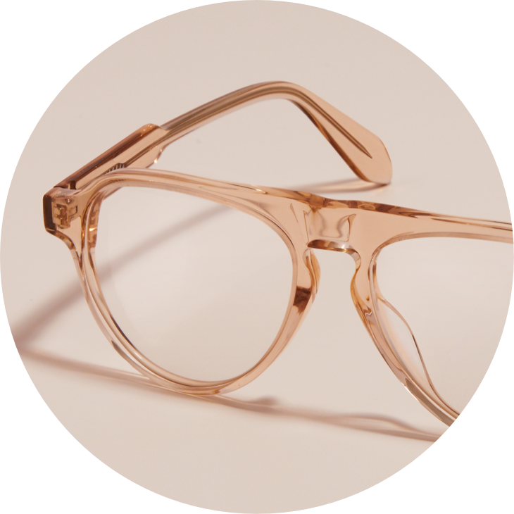 Zenni aviator glasses #114233 in tawny, against a beige background.