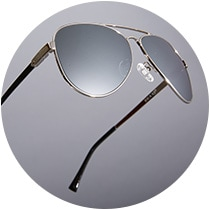 Floating silver metal premium aviator sunglasses #1125411 with gradient gray tint and silver mirror finish.