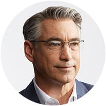 Man with short gray hair wears black titanium rectangle glasses #137621.