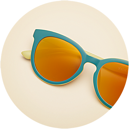 Zenni kids' round frame #209024 with photochromic lenses and gold mirror finish.