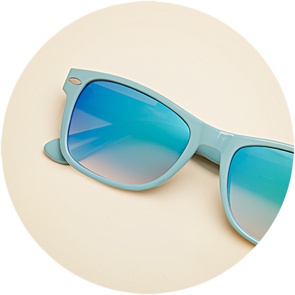 Zenni square frame #270416 with sky blue mirror tint.