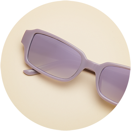 Zenni rectangle frame #2027417 with lavender mirror tint.