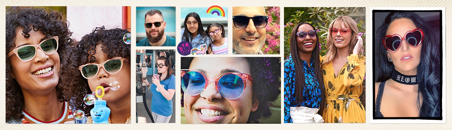 Snapshots of men, women, and kids wearing Zenni's affordable sunglasses.