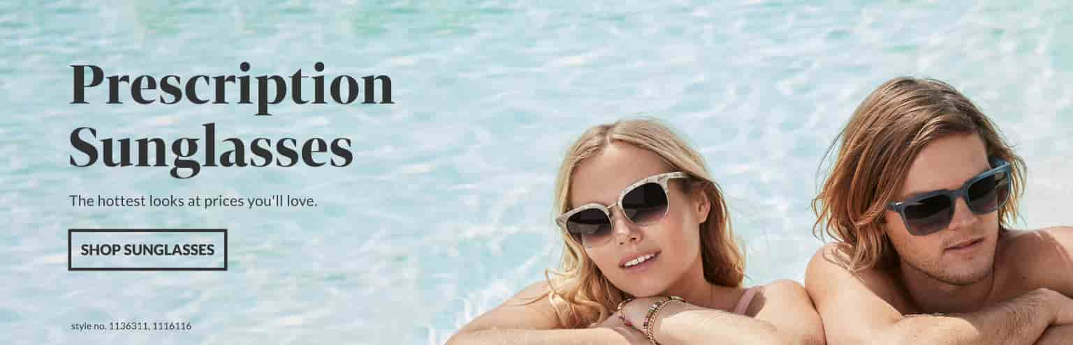 Prescription Sunglasses. The hottest looks at prices you'll love. Image of a couple swimming in a pool, with the man wearing Zenni premium square sunglasses #1116116, and the woman wearing Zenni premium browline sunglasses #1136311.