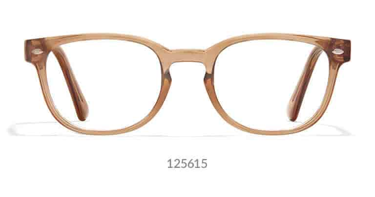 Stylish, medium-sized frame is translucent with a glossy finish. Shown in brown. A keyhole bridge adds a sophisticated touch.