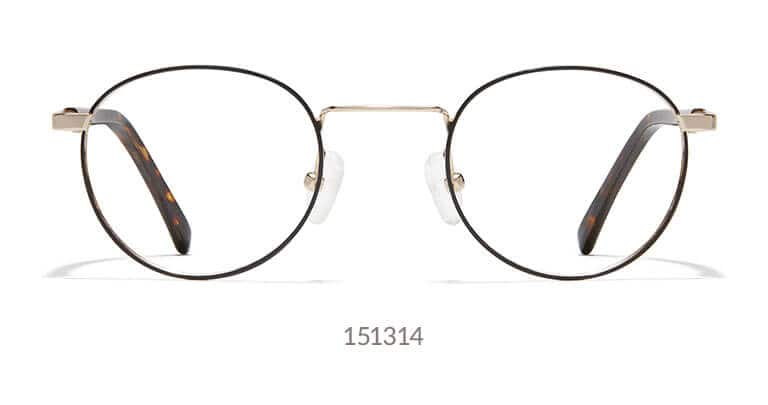 c32b842a957 Classic metal round glasses shown in black with gold accents.