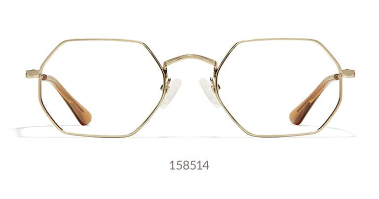 The geometric rims give these metal glasses a fashionable edge. Shown in gold.