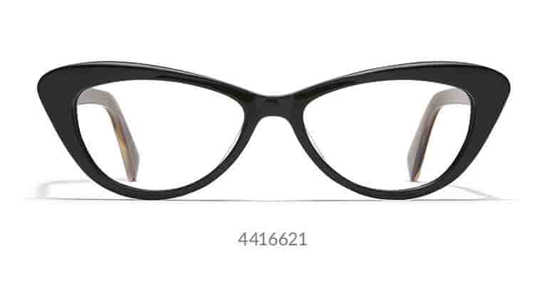 Add some retro pizzazz to your wardrobe with this pair of glossy, cat-eye glasses made with high-quality acetate. Shown in black with diminutive silver star accents.