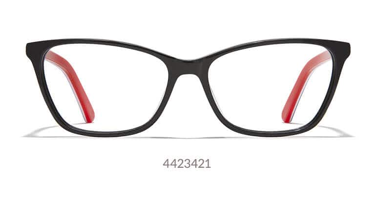 Made with thin acetate, this lightweight, medium-sized cat-eye frame is black with red inside the temple arms.