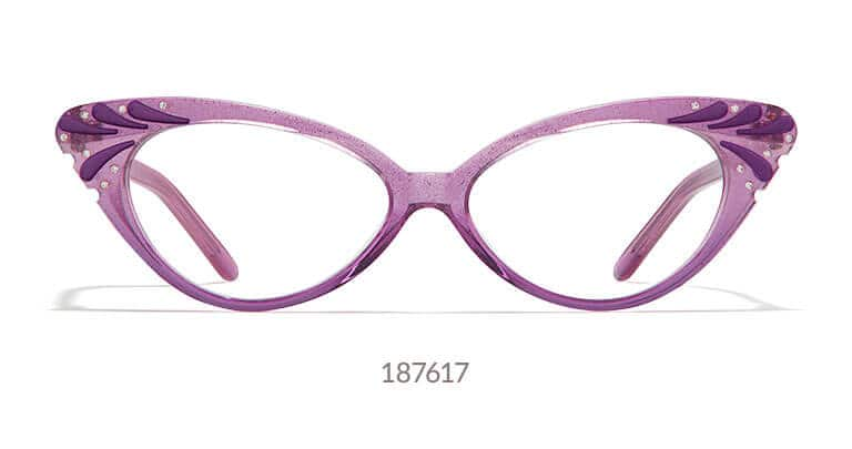 Purple acetate cat-eye glasses with crystal accents on the etched corners.