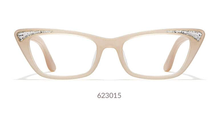 ae4af2f03ca Cream-colored acetate cat-eye glasses with sparkling star dust on each side  of