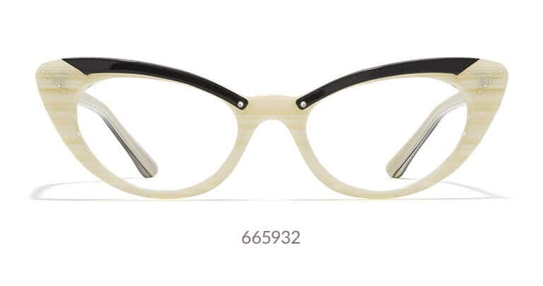 Stunning cream-colored, retro cat-eyes with black detail on the brow. Made with hand-polished acetate.