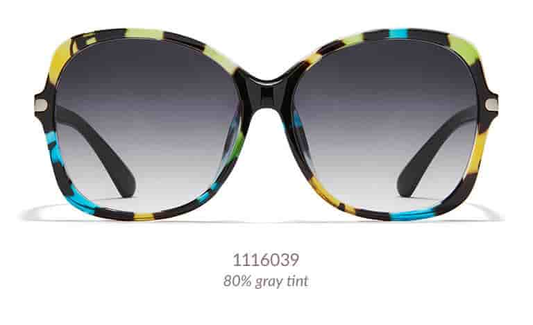 "These oversized sunglasses have a fashion-forward ""butterfly"" shape. Shown in pattern version that is black with hints of translucent green and yellow hues (shown with 80% gray tint)."