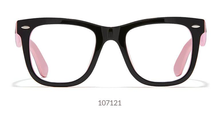 Make a statement in these stylish, two-tone glasses. Made with high-quality acetate and hand-polished to a glossy finish, the wide square frame is black on the outside and pink on the inside. The iconic silhouette lends itself to classic sunglasses or bold eyeglasses.