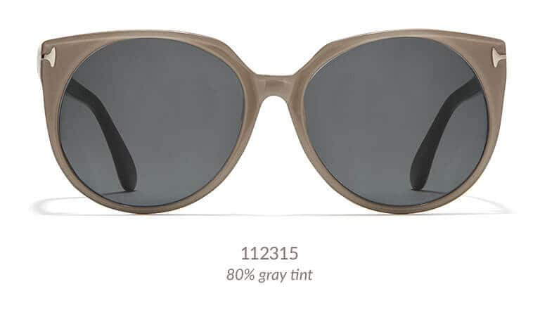 Channel your inner celeb with these glamorous and feminine sunglasses. This wide acetate frame has a slight cat-eye upsweep and gold metallic hinge detail. Shown in brown with 80% gray tint.