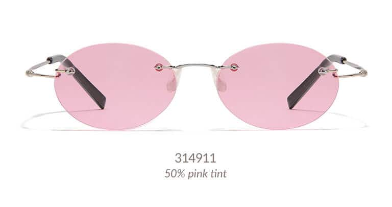 A rimless, extremely light weight, very durable frame of metal alloy with a memory titanium temples. Shown with lens shape #231 and 50% pink tint.