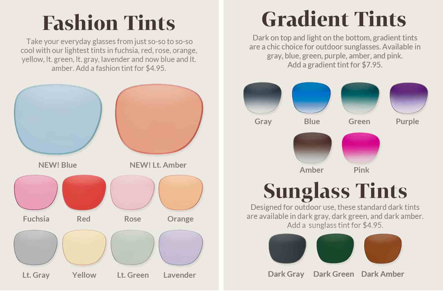 Lens samples of available fashion tints: blue, light amber, fuchsia, red, rose, orange, light gray, yellow, light green and lavender; gradient tints: gray, blue, green, purple, amber, and pink; sunglasses tints: dark gray, dark green, and dark amber.