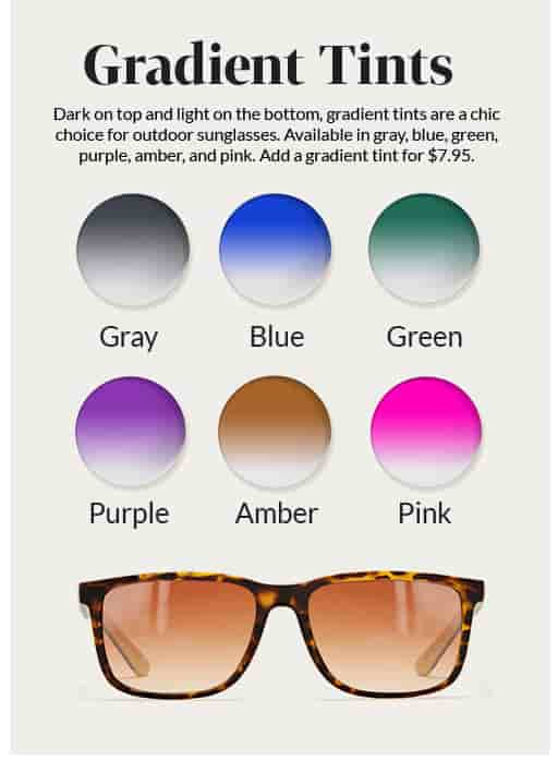 Round lens samples of available gradient tints: gray, blue, green, purple, amber, and pink.