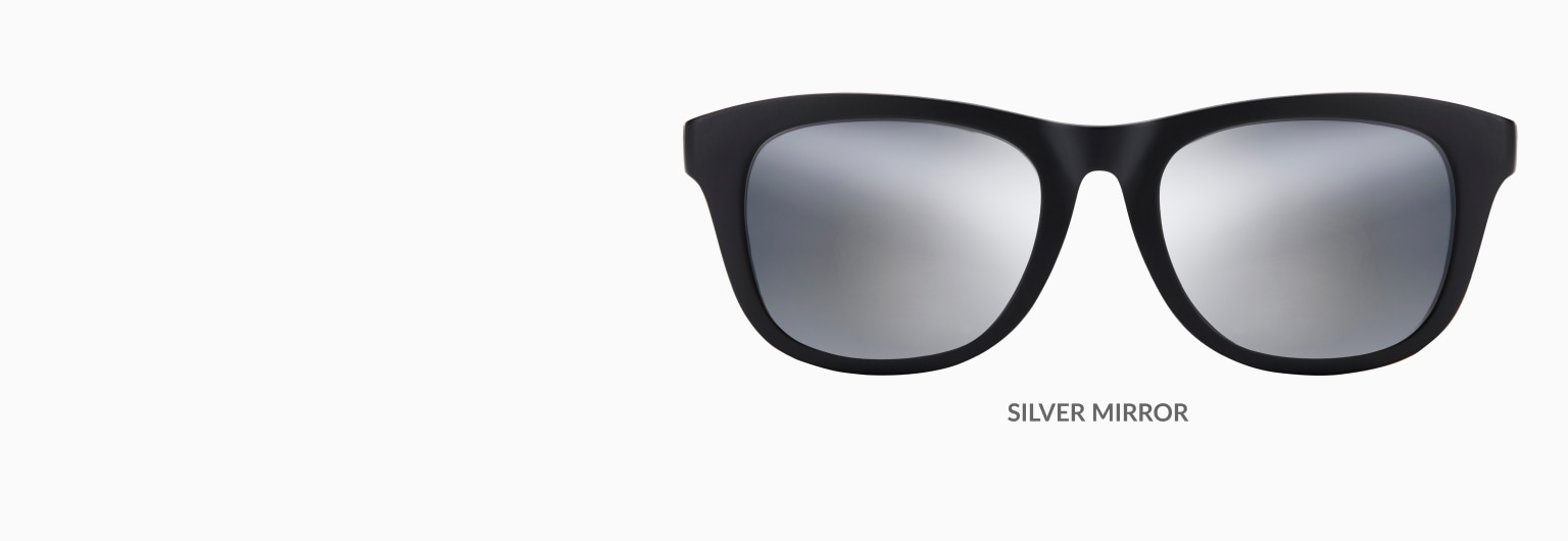 Black square glasses shown with gold mirror tint.