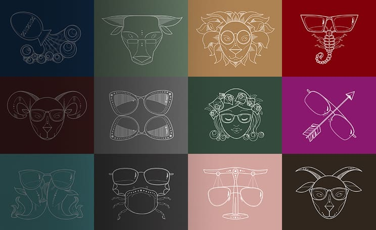 Line illustrations of the 12 zodiac signs with glasses.