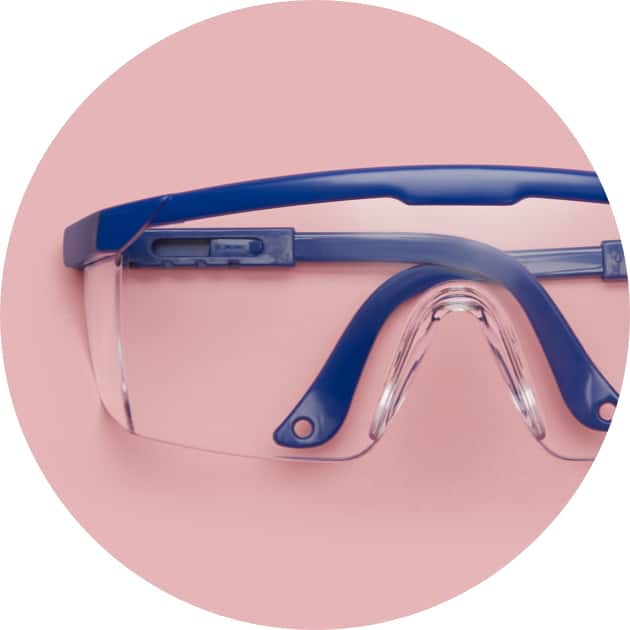 Fitover and Protective Goggles A70180316 with pink background.