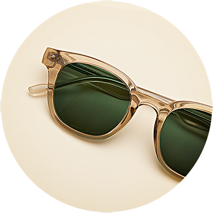 Zenni square frame #2029515 with dark green sunglasses tint.