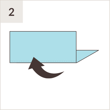 Illustration of blue folded paper with arrow to show fold motion.