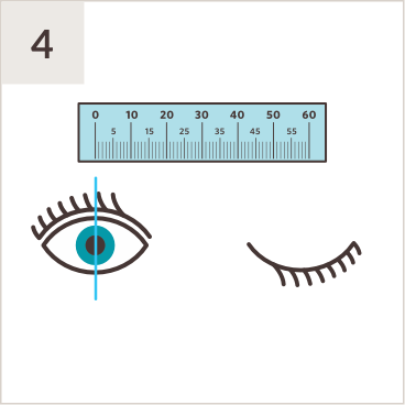 Illustration of PD ruler above a pair of eyes, with line measuring middle of left pupil while right eye is shut.