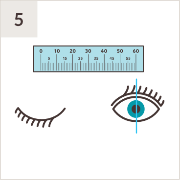 Illustration of PD ruler above a pair of eyes, with line measuring middle of right pupil while left eye is shut.