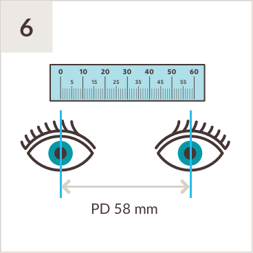 Illustration of PD ruler above a pair of eyes, with line measuring middle of both left pupil and right pupil with measurement of 58mm in between.