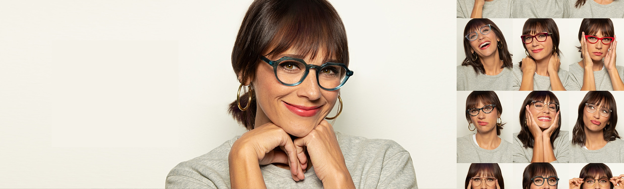 Actress Rashida Jones poses in different pairs of Zenni glasses.