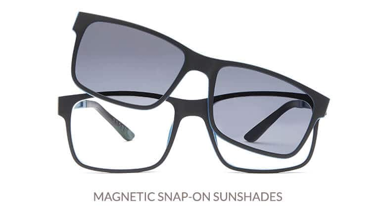 Our clip-ons are polarized and custom cut to match the lenses in the frame. We also carry magnetic snap-on eyewear sets that feature cool glasses with a magnetic sunshade that fits securely and seamlessly to the frame front. Available in both standard and gradient tints, starting at $3.95.