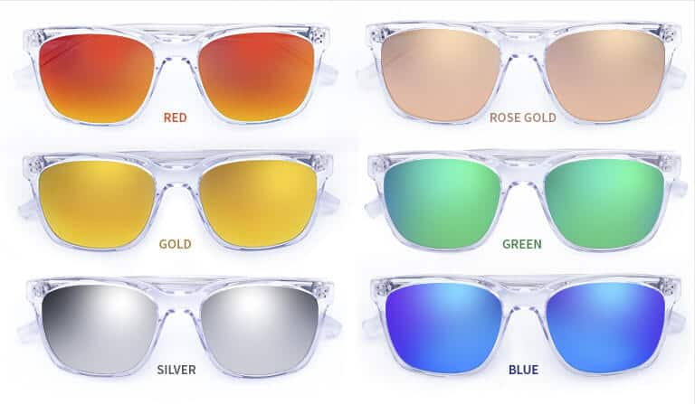 Mirrors up the cool quotient. All of our six mirror finishes come with a superior oleophobic (fingerprint-resistant) and anti-reflective coating. The mirror look can also be added to polarized, 80% gray, green, and amber solid or gradient tints.