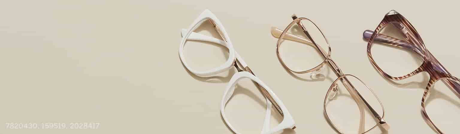 White Cat-Eye Glasses 7820430, Rose Gold Square Glasses 159519, Brown Stripe Cat-Eye Glasses 2028417