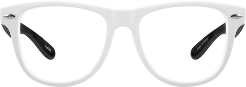 White Kid's Square Glasses