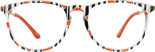 Stripe Round Glasses