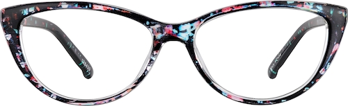 Black Floral Cat-Eye Glasses