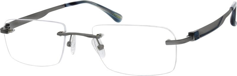 2100e406e382 Gray Titanium Rimless Glasses #130012