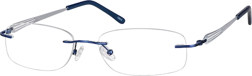 Blue Titanium Rimless Glasses