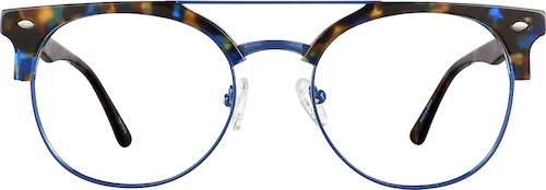 Blue Tortoiseshell Browline Glasses