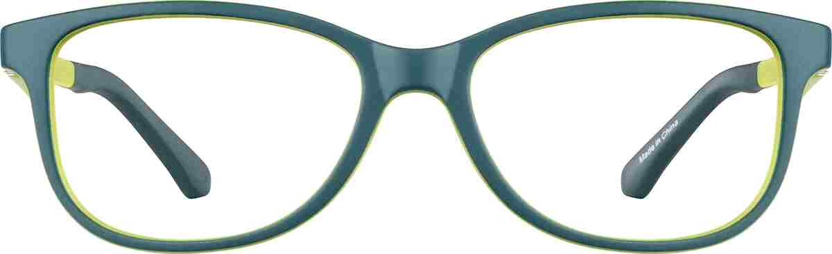 Green Kid's Square Glasses
