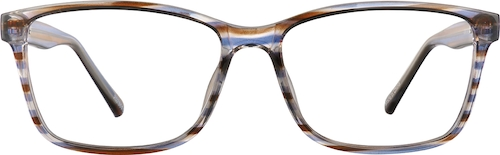 Brown Stripe Rectangle Glasses