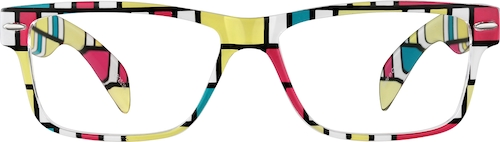 Multicolor Rectangle Glasses