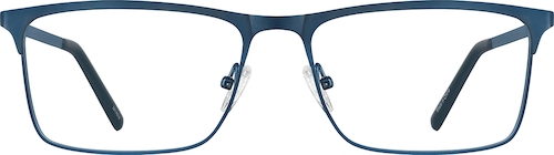 Metallic Blue Rectangle Glasses